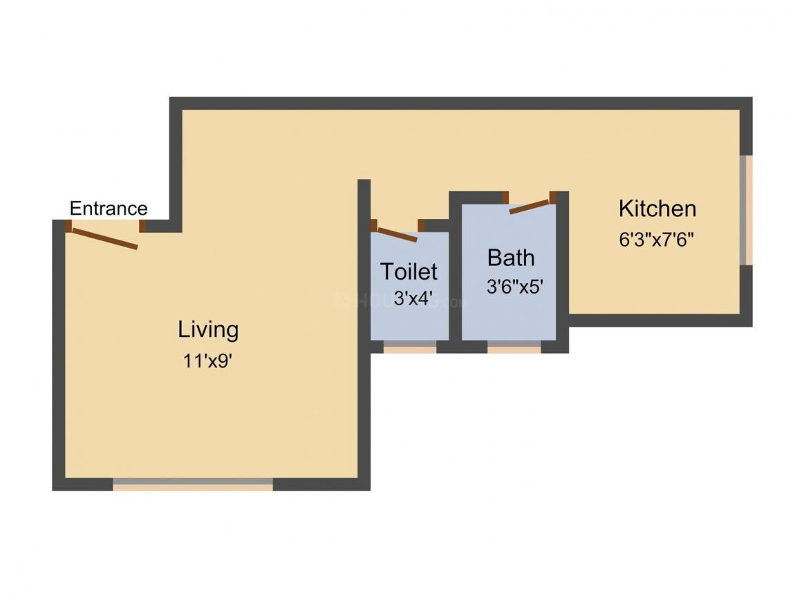 Floor Plan Image of 330.0 - 470.0 Sq.ft 1 RK Apartment for buy in Maitri Enterprises