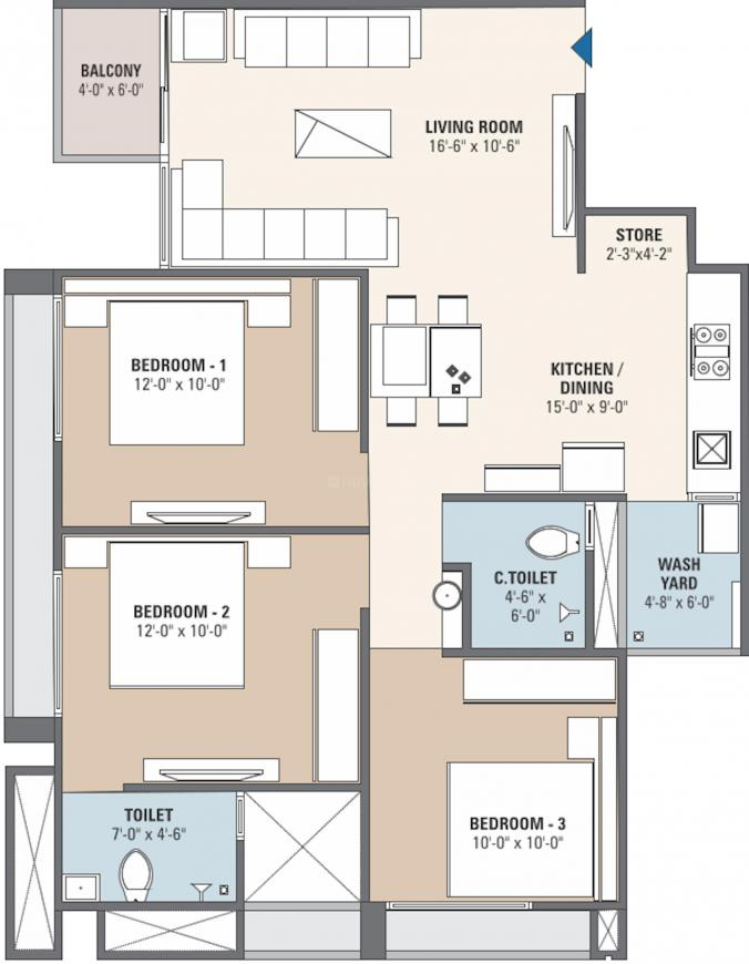 S S Shyam Saral Floor Plan: 3 BHK Unit with Built up area of 758 sq.ft 1