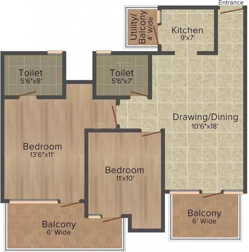 Paarth Pal Greens Floor Plan: 2 BHK Unit with Built up area of 1116 sq.ft 1