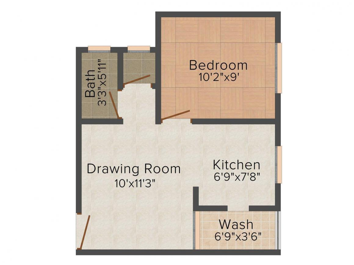Aroma Aakruti Aangan Floor Plan: 1 BHK Unit with Built up area of 594 sq.ft 1
