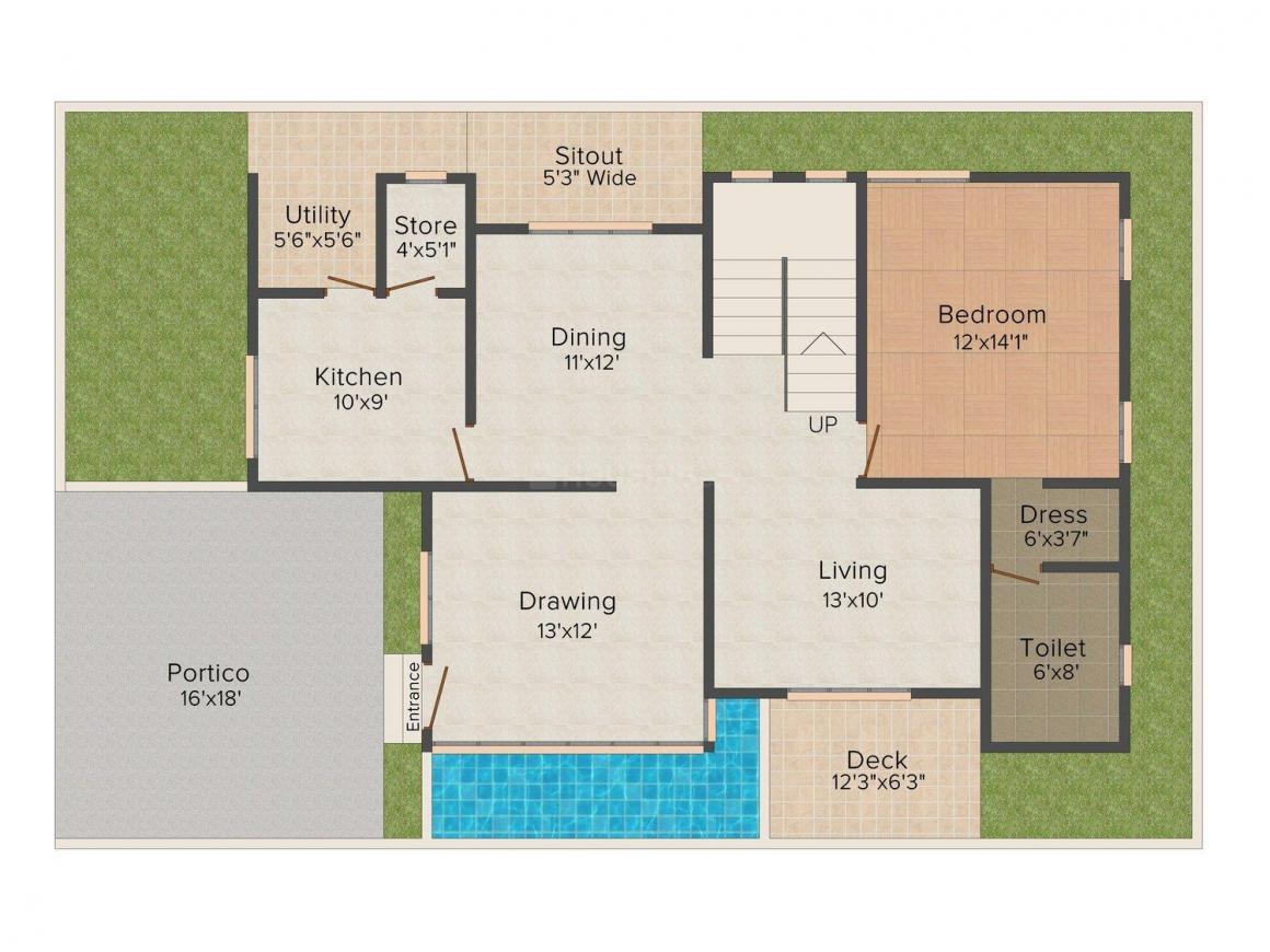 Giridhari Villa Onyx Floor Plan: 3 BHK Unit with Built up area of 2920 sq.ft 2