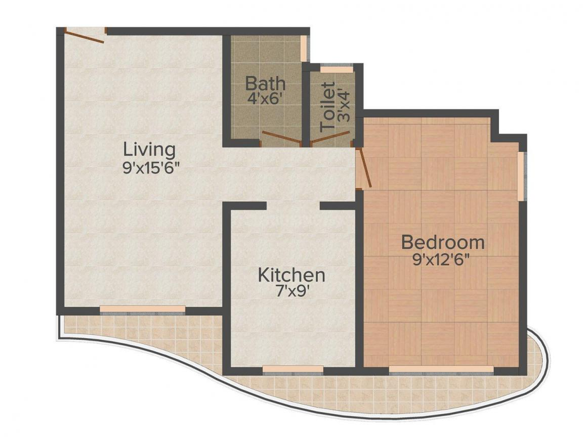 Floor Plan Image of 630.0 - 750.0 Sq.ft 1 BHK Apartment for buy in Devraj Darshan Enclave