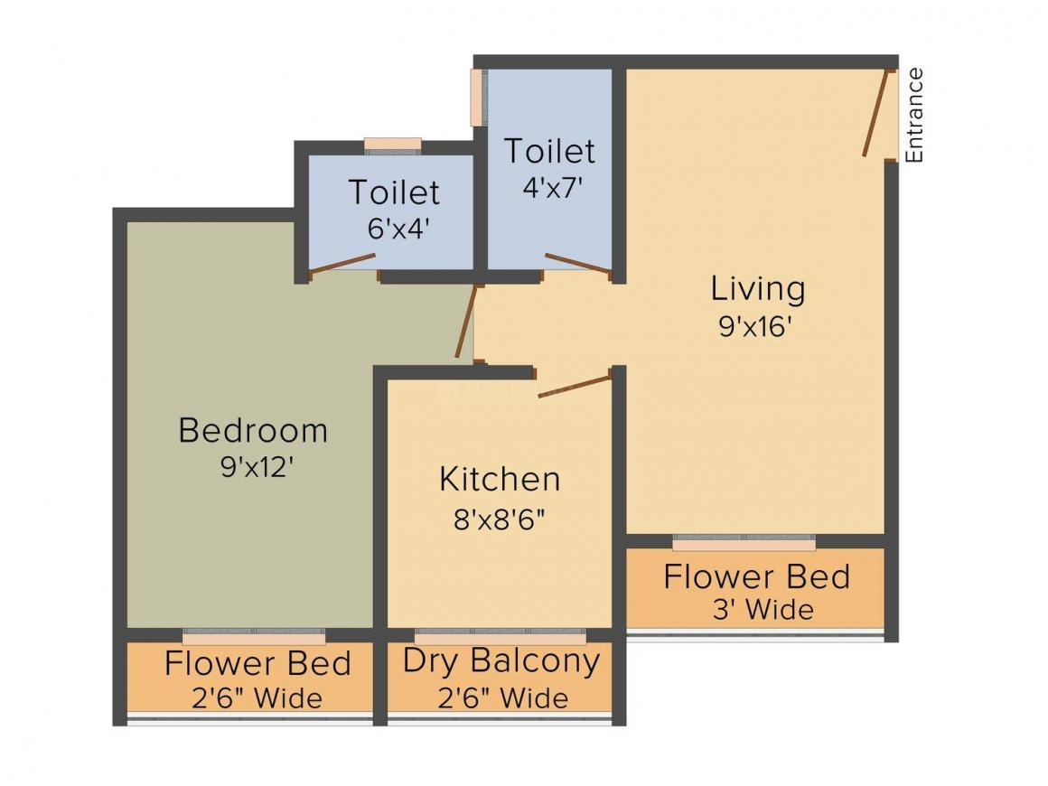 Shree Adeshwar Anand Regency Floor Plan: 1 BHK Unit with Built up area of 372 sq.ft 1