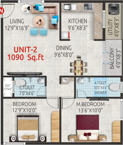 Urban Brezz Floor Plan: 2 BHK Unit with Built up area of 1090 sq.ft 1