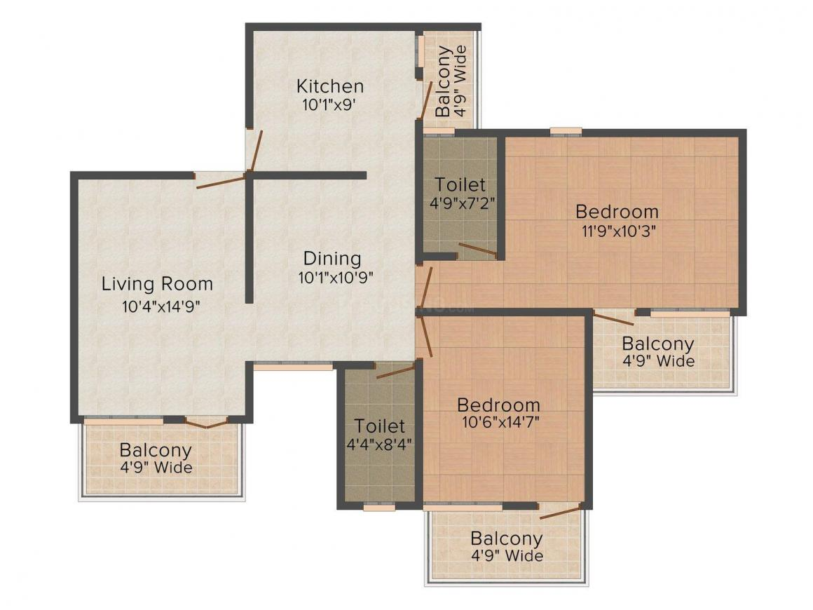 Floor Plan Image of 1261 - 1281 Sq.ft 2 BHK Apartment for buy in Saaket Nirvana