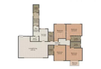Hiranandani Hiranandani Heritage Estonia Floor Plan: 4 BHK Unit with Built up area of 1695 sq.ft 1