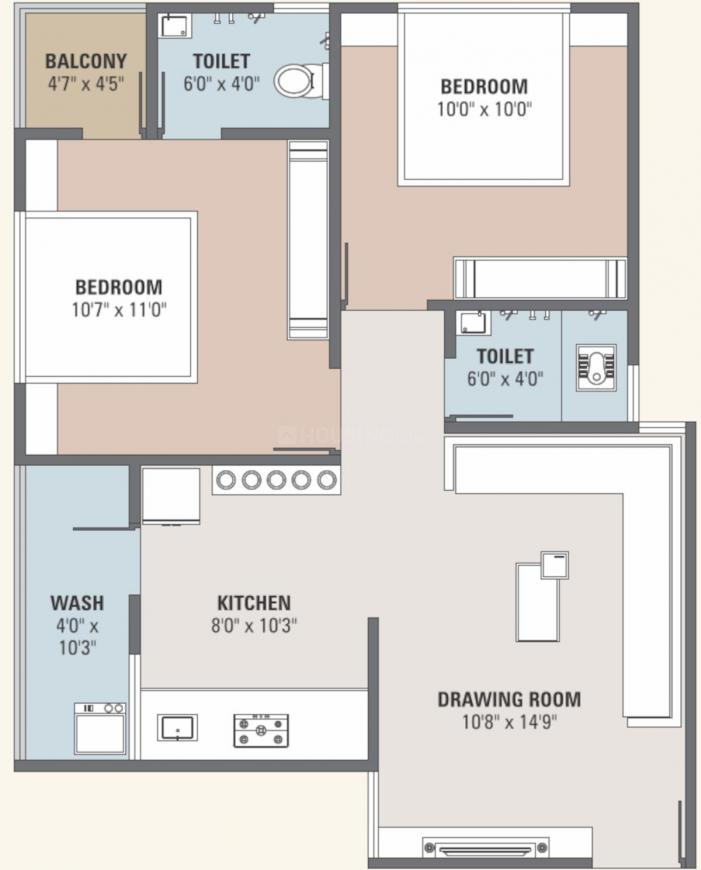 Dev Vedant Residency 2 Floor Plan: 2 BHK Unit with Built up area of 553 sq.ft 1