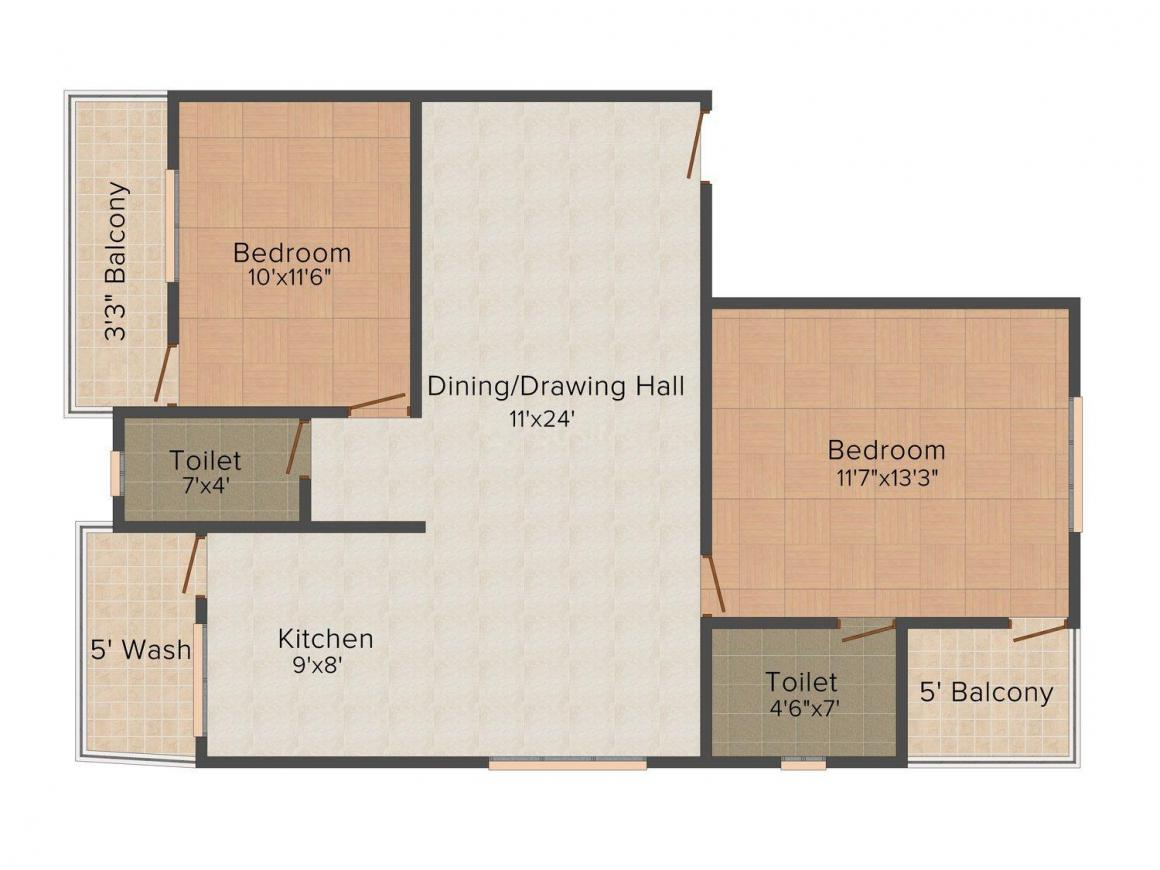 Floor Plan Image of 0 - 900 Sq.ft 2 BHK Apartment for buy in Shree Siddheshwar Apartment