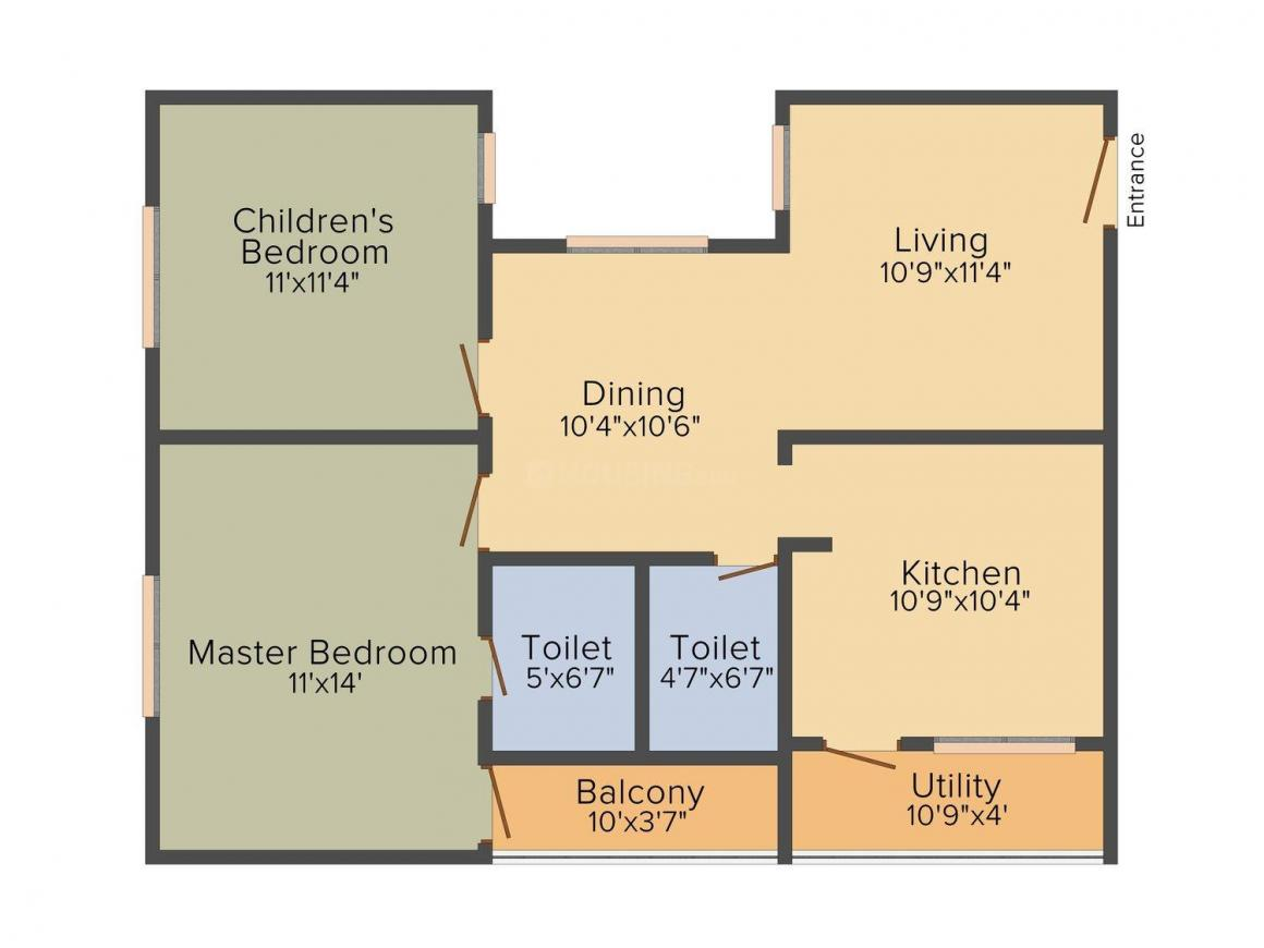 Floor Plan Image of 1040.0 - 1500.0 Sq.ft 2 BHK Apartment for buy in Gks Habitat Royale