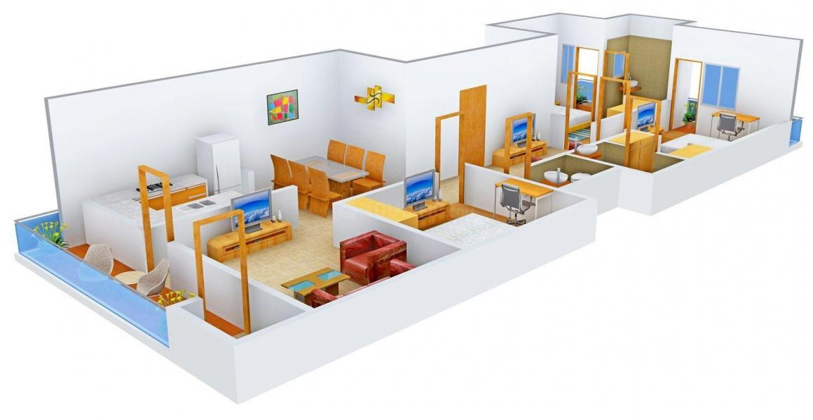 Floor Plan Image of 0 - 1350.0 Sq.ft 3 BHK Independent Floor for buy in Eshaan Homes - IV