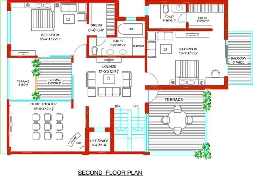 Tulip Ivory Villas Floor Plan: 6 BHK Unit with Built up area of 5000 sq.ft 4