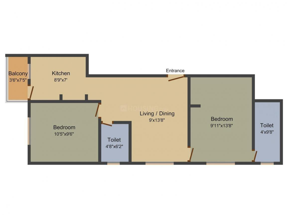 Floor Plan Image of 776.0 - 1220.0 Sq.ft 2 BHK Apartment for buy in Naveen Ajilin Castle