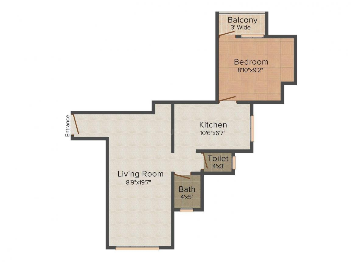 Floor Plan Image of 555 - 635 Sq.ft 1 BHK Apartment for buy in Gama Siddh Giri