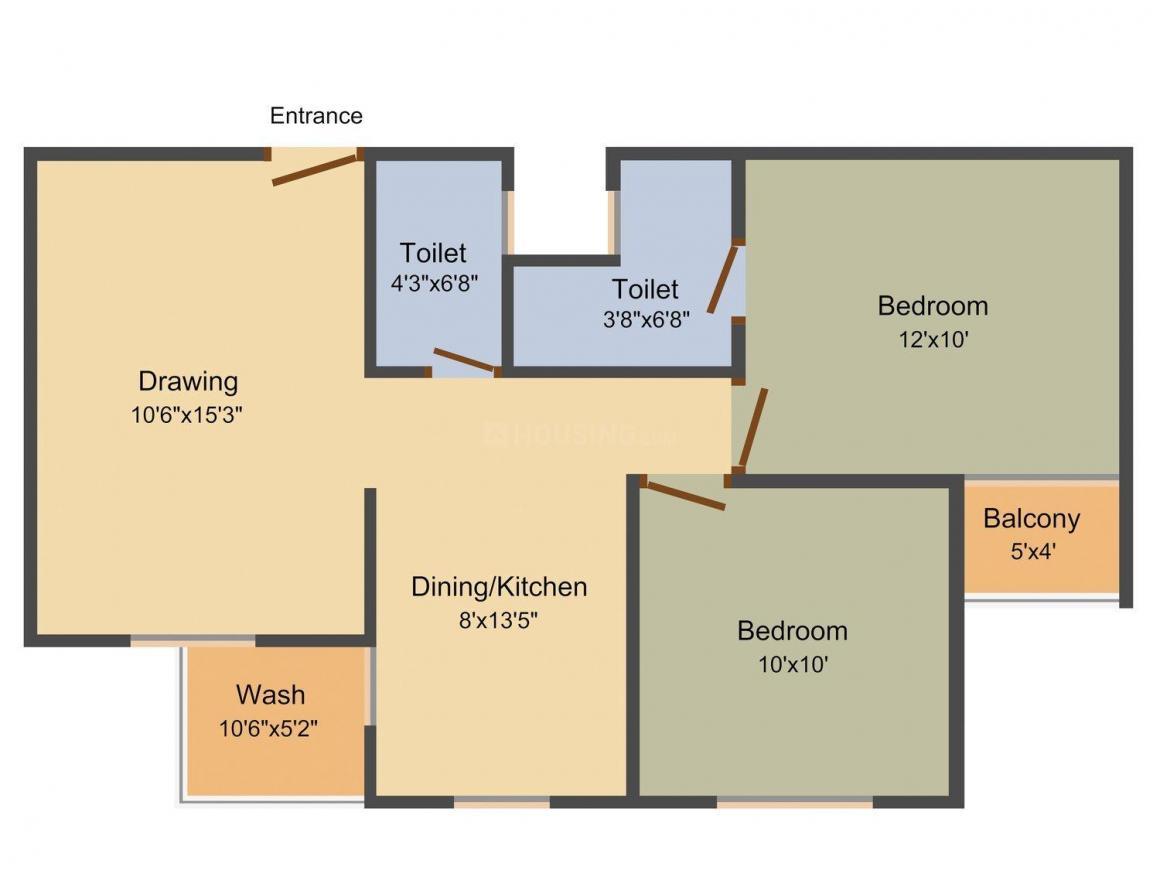 Shakti Dhanraaj Villas and Habitat  Floor Plan: 2 BHK Unit with Built up area of 1008 sq.ft 1