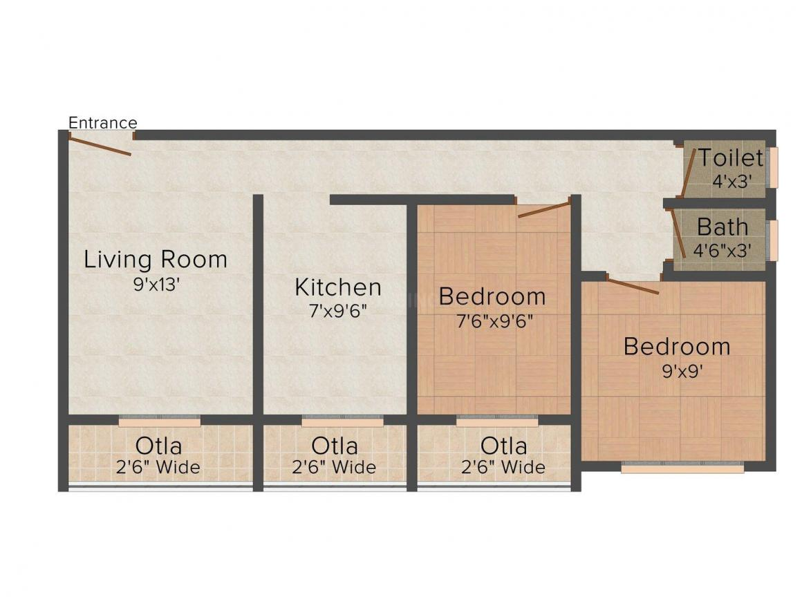 Floor Plan Image of 0 - 650 Sq.ft 2 BHK Apartment for buy in Kasam Deepshama