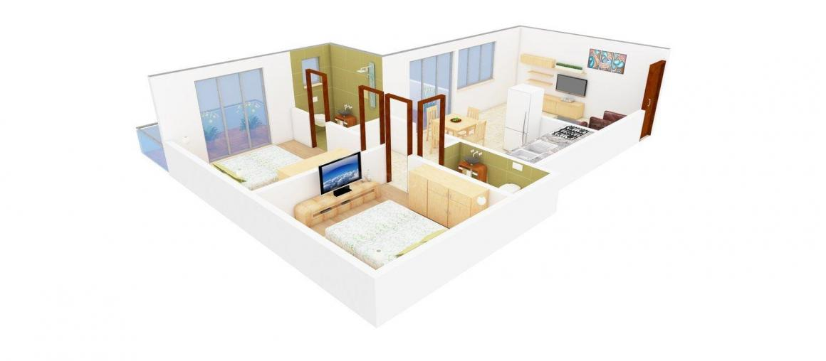 Pinnac West End Residency Wing E Floor Plan: 2 BHK Unit with Built up area of 772 sq.ft 1