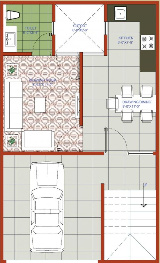 Rays North Villas Floor Plan: 3 BHK Unit with Built up area of 1200 sq.ft 2