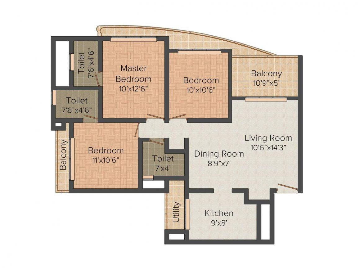 Floor Plan Image of 1330.0 - 1410.0 Sq.ft 3 BHK Apartment for buy in Vijay Nakshatra