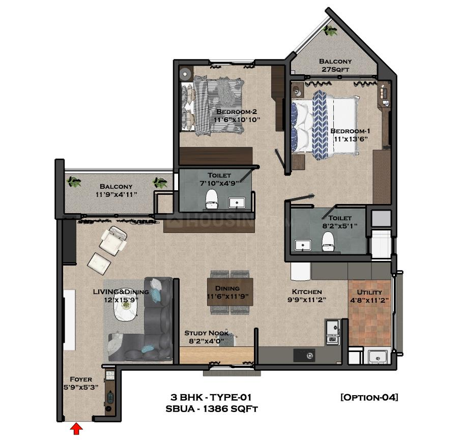 Bren Imperia Floor Plan: 2 BHK Unit with Built up area of 942 sq.ft 2