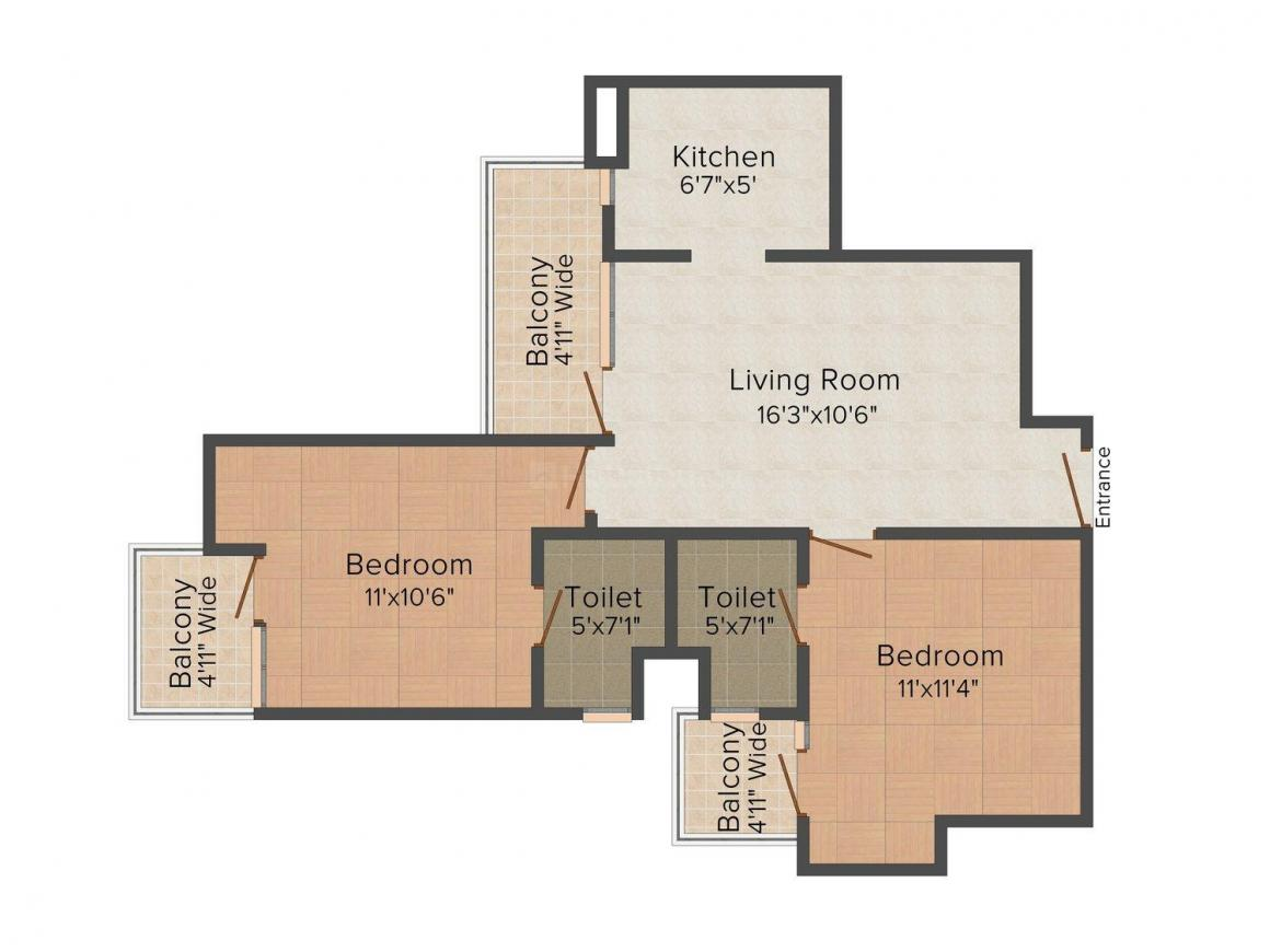 Floor Plan Image of 975.0 - 2135.0 Sq.ft 2 BHK Apartment for buy in Jaura Heights