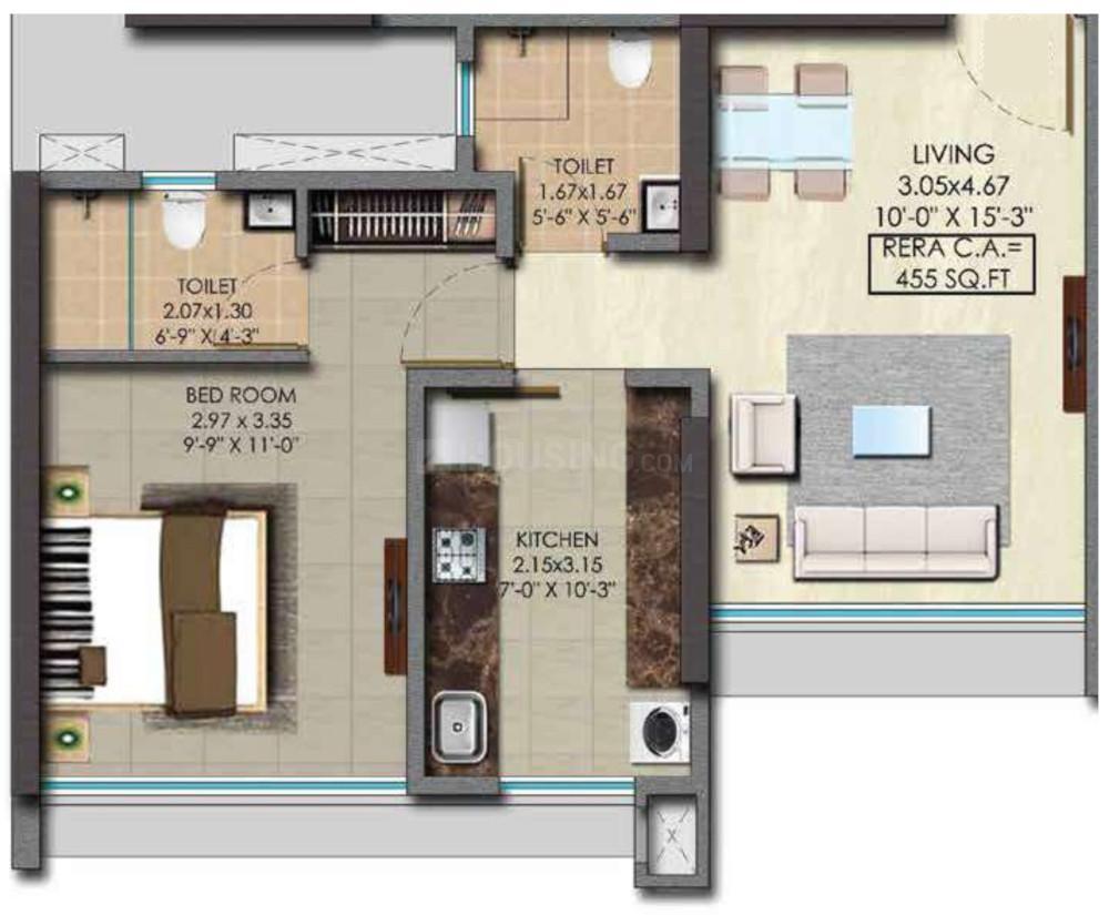 Srishti Pride Floor Plan: 1 BHK Unit with Built up area of 455 sq.ft 1
