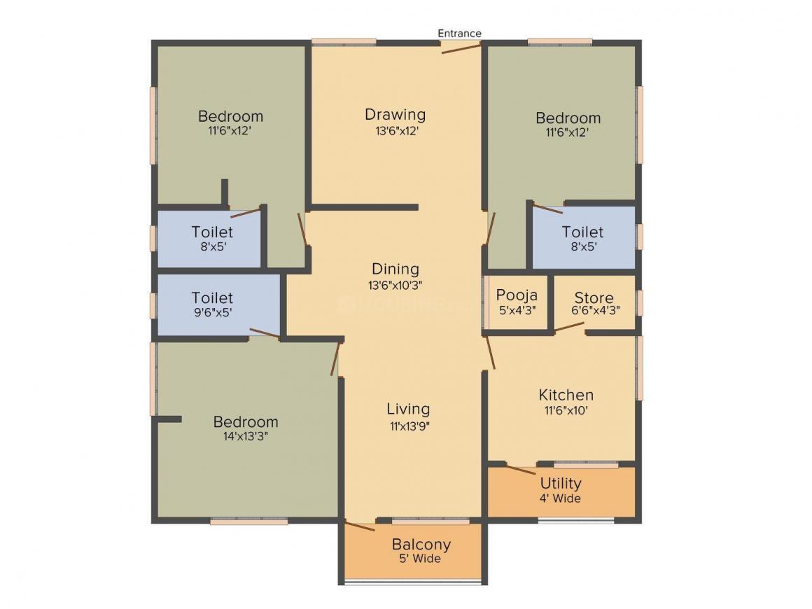 Trend Set Trendset Woods Floor Plan: 3 BHK Unit with Built up area of 1840 sq.ft 1