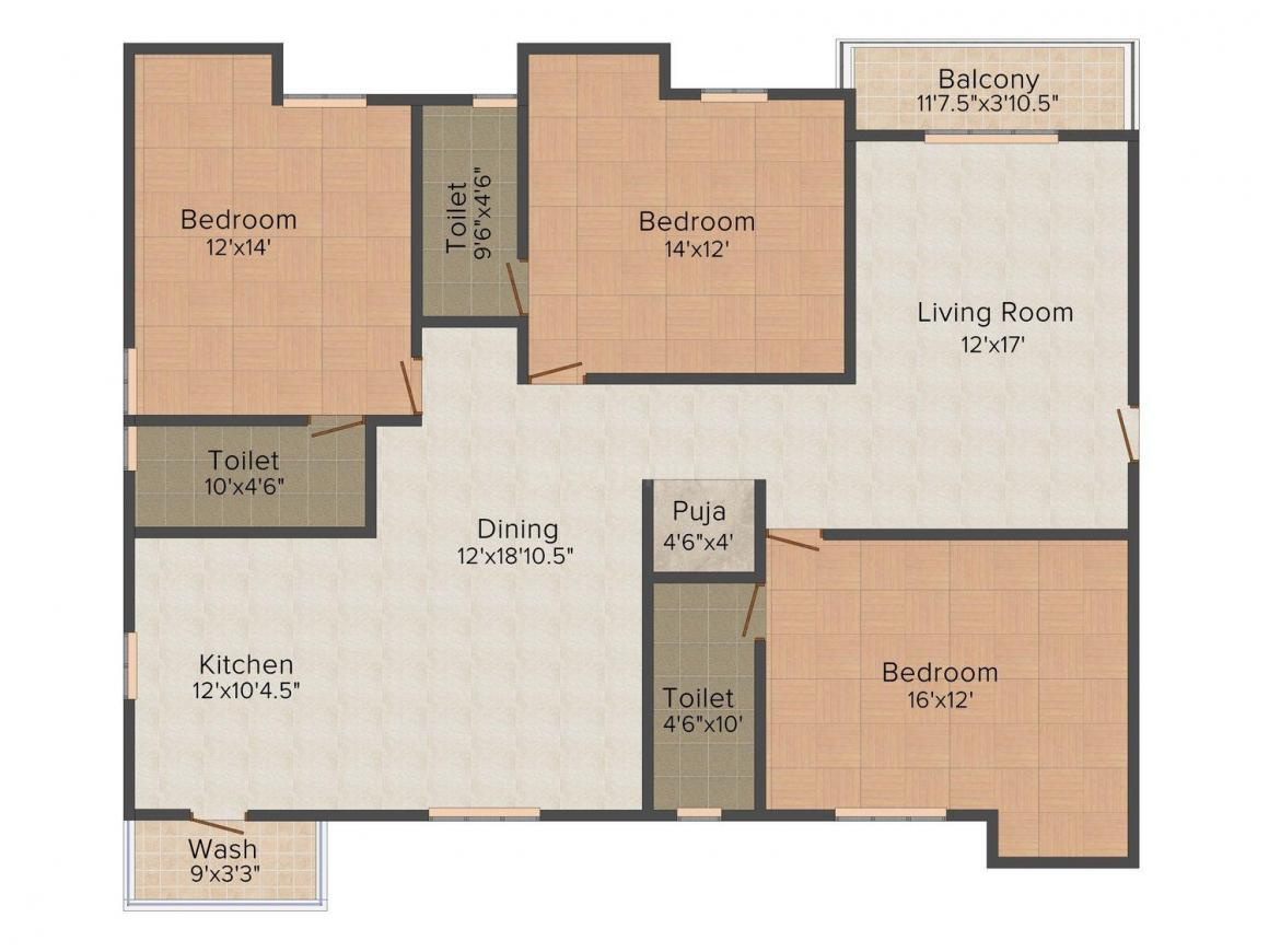 Floor Plan Image of 1562.0 - 2054.0 Sq.ft 3 BHK Apartment for buy in India Srivatsam