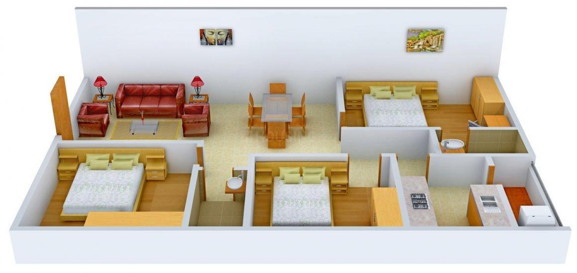 Floor Plan Image of 0 - 1390.0 Sq.ft 3 BHK Apartment for buy in Raja Rajeswari Golden Serenity