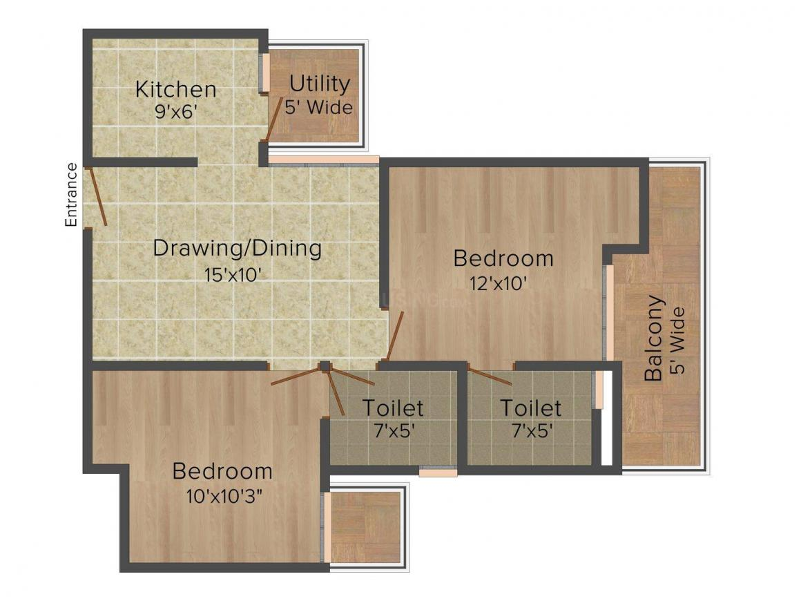 Rise Organic Homes Floor Plan: 2 BHK Unit with Built up area of 990 sq.ft 1