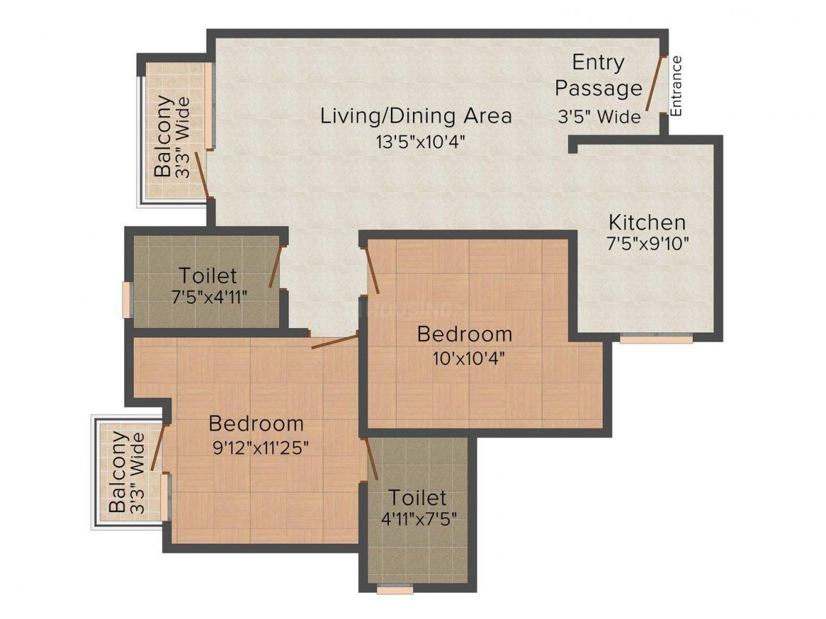 Floor Plan Image of 953 - 1349 Sq.ft 2 BHK Apartment for buy in Ansal Santushti Enclave