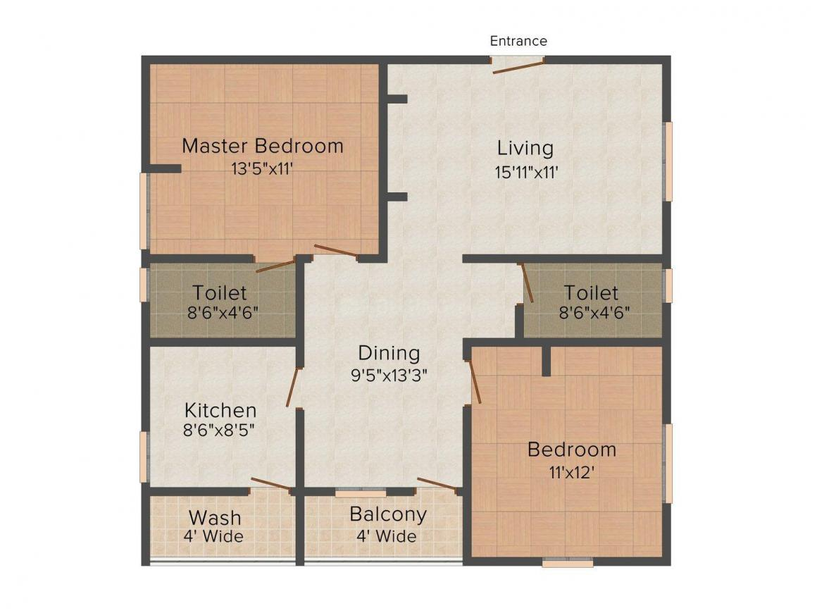 Creative Nirman Apartments Floor Plan: 2 BHK Unit with Built up area of 1160 sq.ft 1