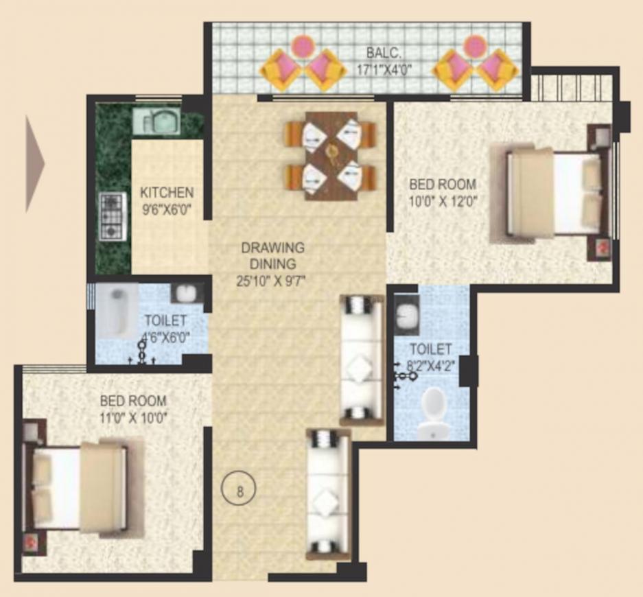 Sai Sampann Usha Palace Floor Plan: 2 BHK Unit with Built up area of 622 sq.ft 1