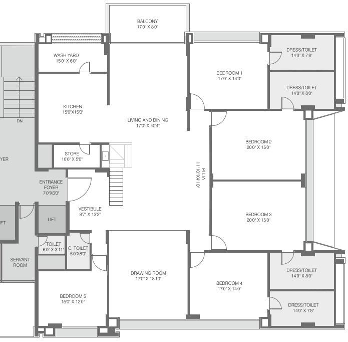 Madhav Oeuvre Floor Plan: 5 BHK Unit with Built up area of 6728 sq.ft 1