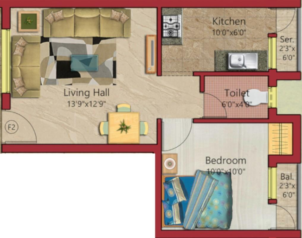 Chandran Casita Floor Plan: 1 BHK Unit with Built up area of 564 sq.ft 1