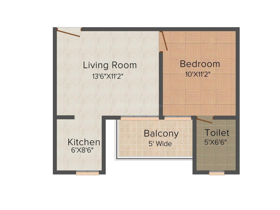 Floor Plan Image of 0 - 565 Sq.ft 1 BHK Apartment for buy in Usha Shree Apartment