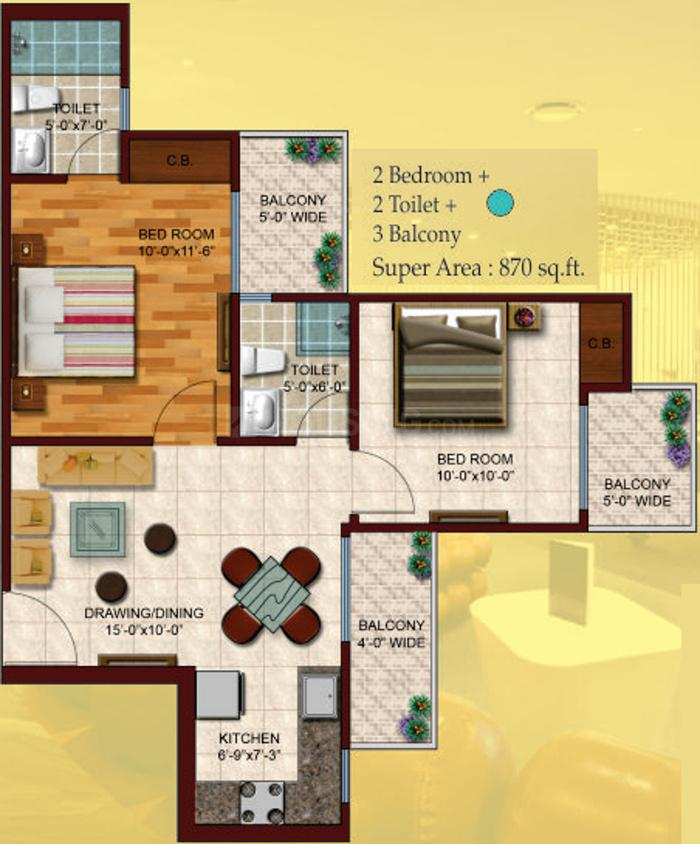 Skytech Colours Avenue Floor Plan: 2 BHK Unit with Built up area of 870 sq.ft 1
