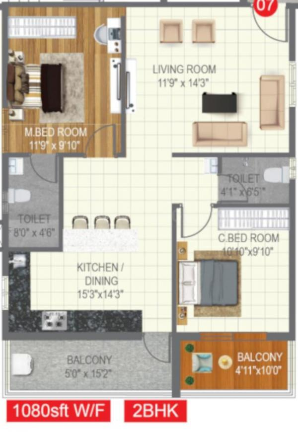 Risinia Skyon Floor Plan: 2 BHK Unit with Built up area of 1080 sq.ft 1