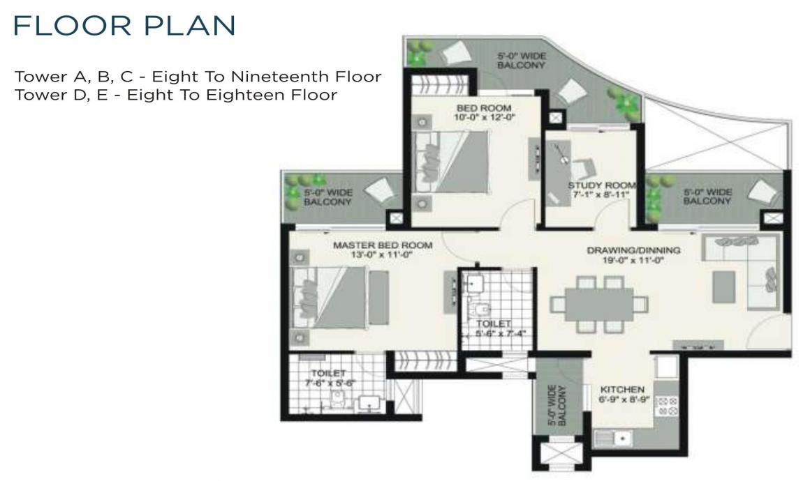 Urbtech Hilston Floor Plan: 2 BHK Unit with Built up area of 1310 sq.ft 1