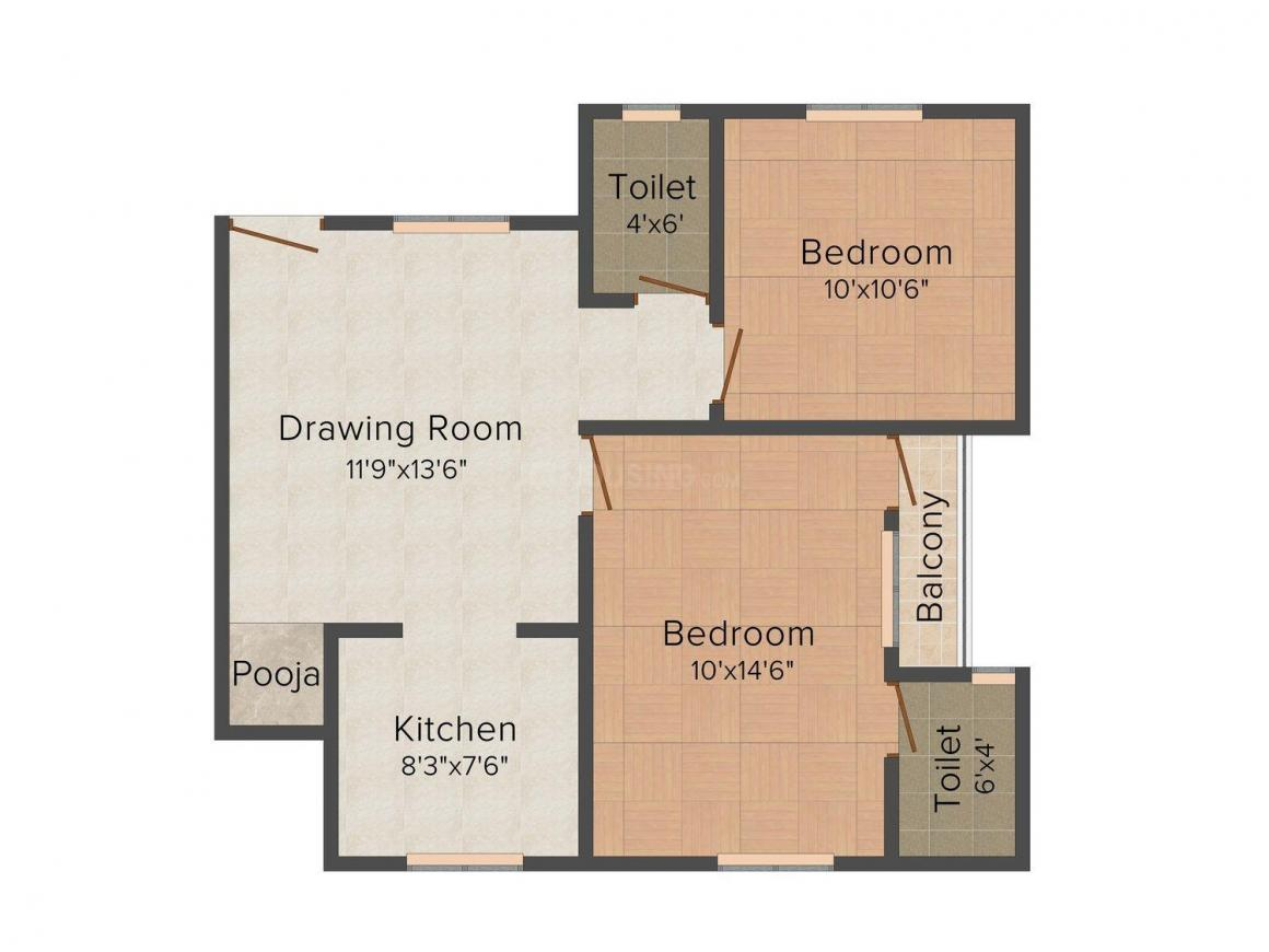 Gayatri Tower Floor Plan: 2 BHK Unit with Built up area of 960 sq.ft 1