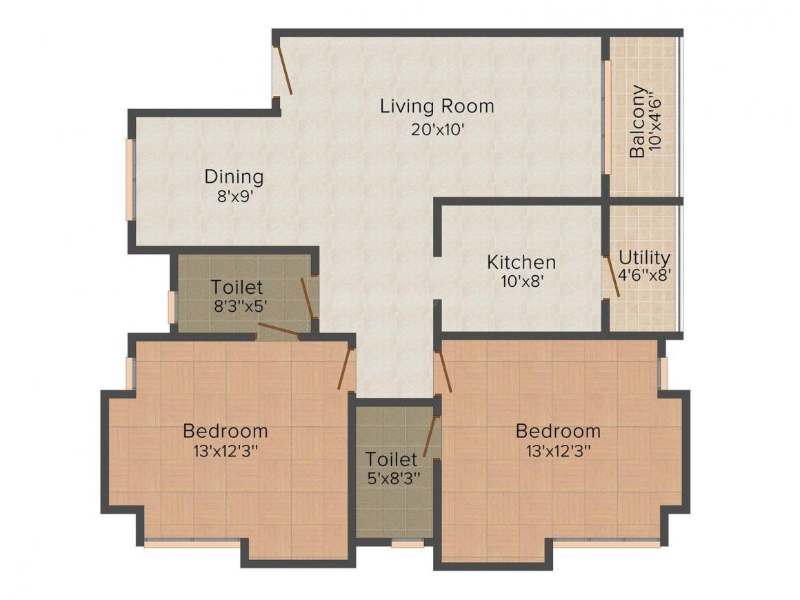 Durga Maple  Floor Plan: 2 BHK Unit with Built up area of 1188 sq.ft 1