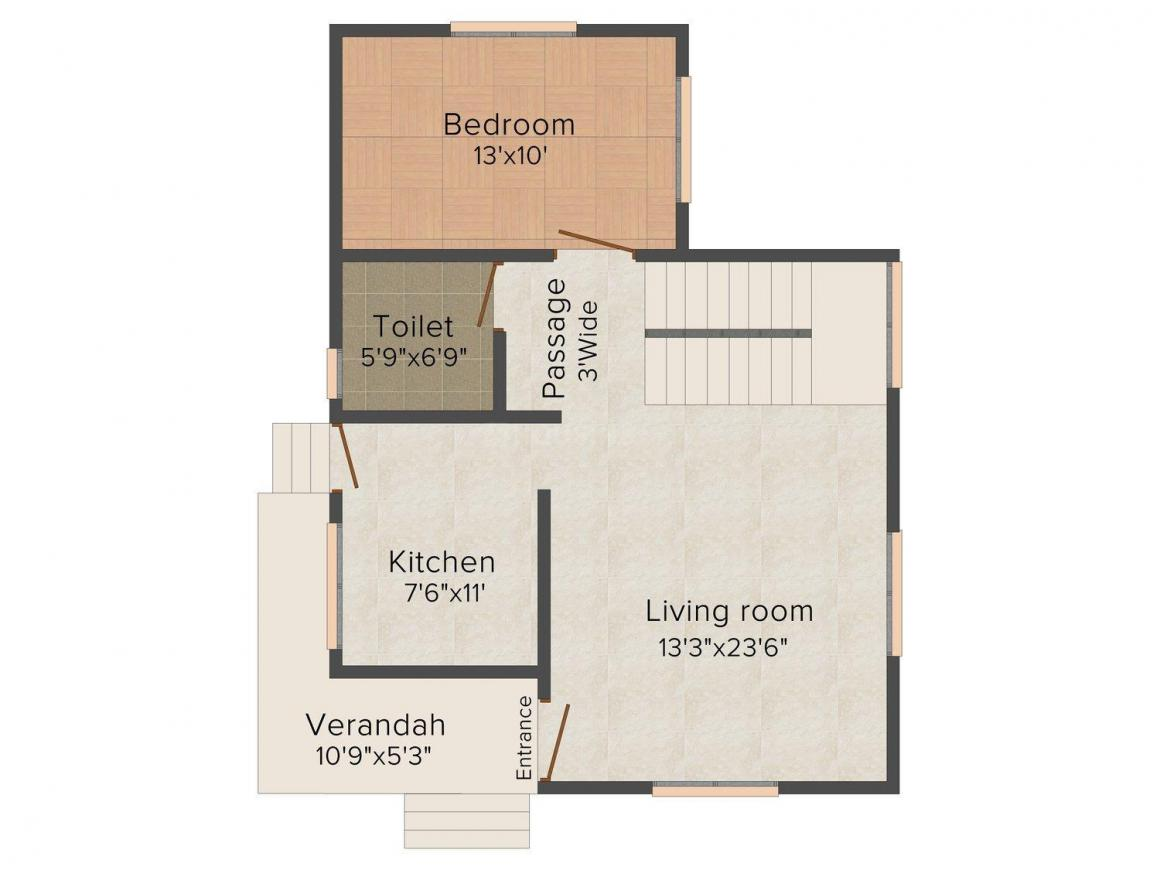Floor Plan Image of 0 - 1000 Sq.ft 2 BHK Bungalow for buy in Laxmi Enclave