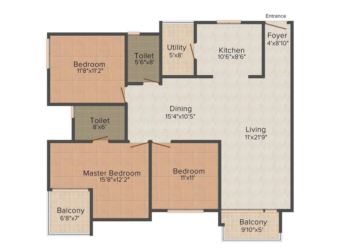 Floor Plan Image of 0 - 1400 Sq.ft 3 BHK Apartment for buy in UDB Celebrations