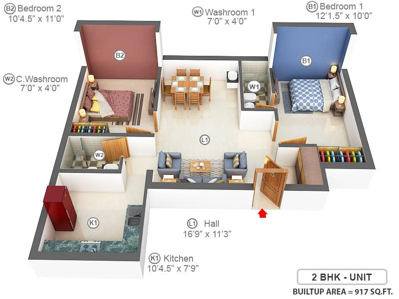 VGK Akriti Floor Plan: 2 BHK Unit with Built up area of 917 sq.ft 1