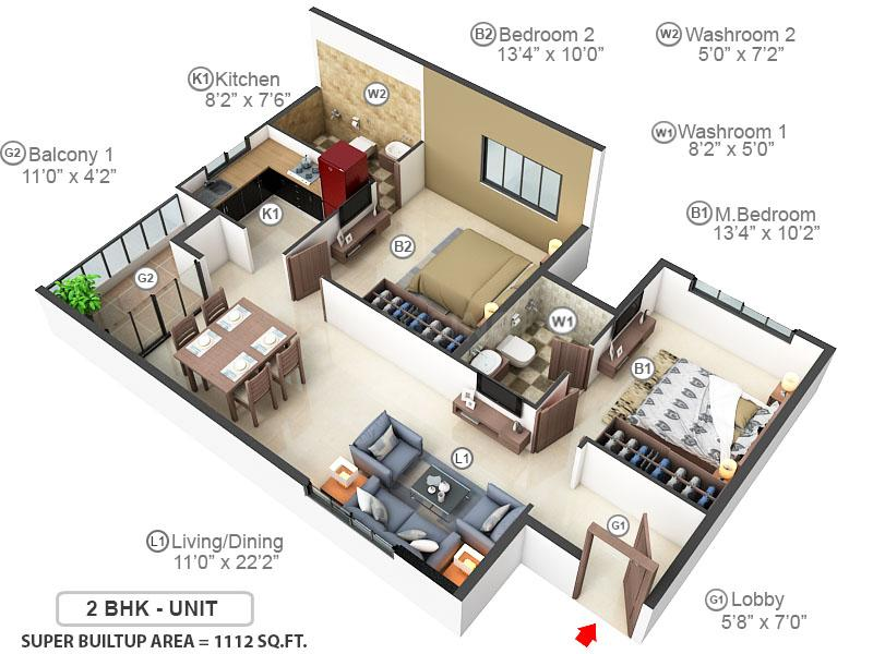 ASN Srikaram Floor Plan: 2 BHK Unit with Built up area of 1112 sq.ft 1