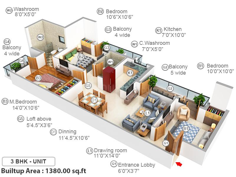 BPTP Discovery Park Floor Plan: 3 BHK Unit with Built up area of 1380 sq.ft 1