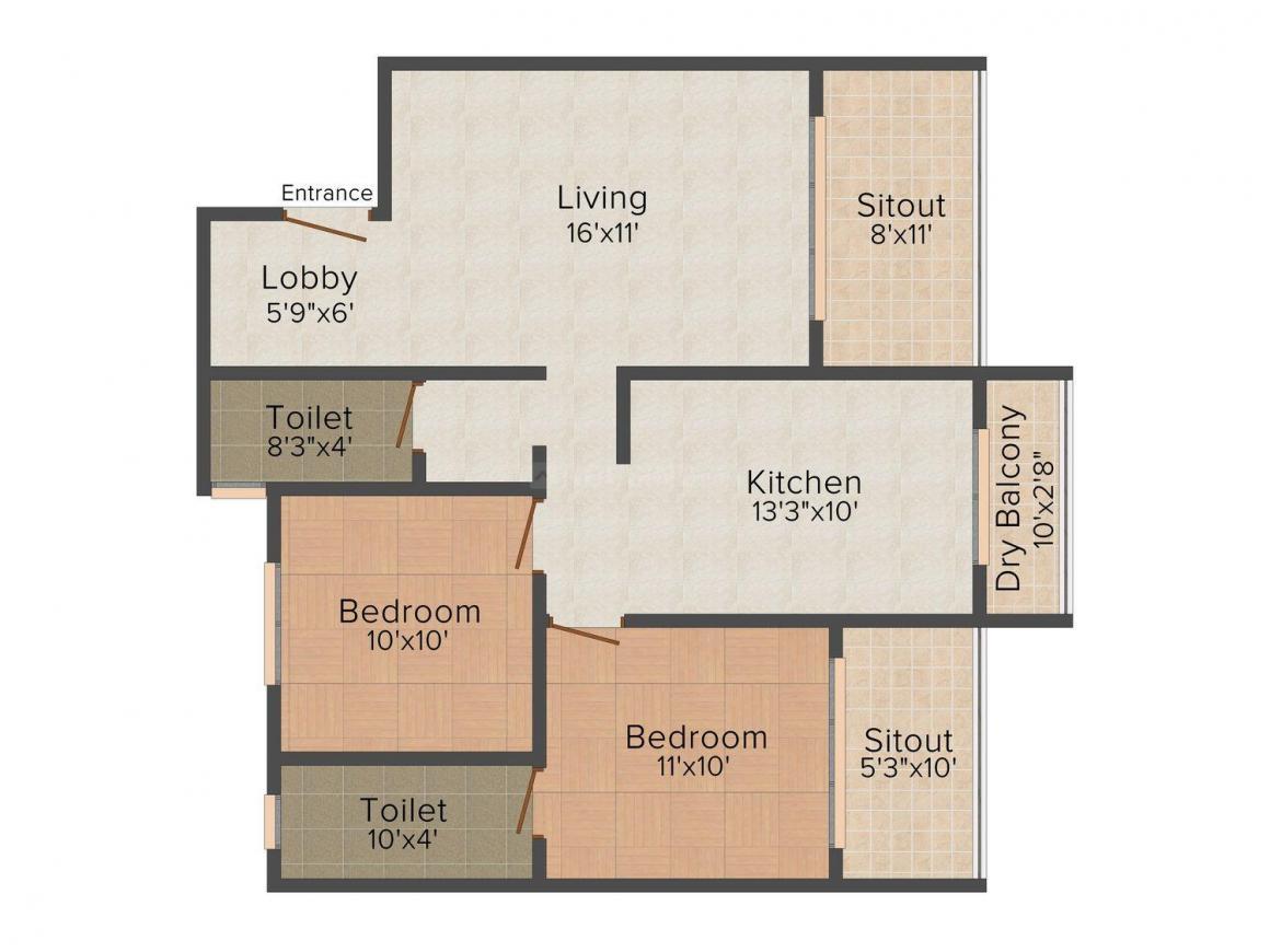 Floor Plan Image of 1130 - 1580 Sq.ft 2 BHK Apartment for buy in Chandrakiran Plaza