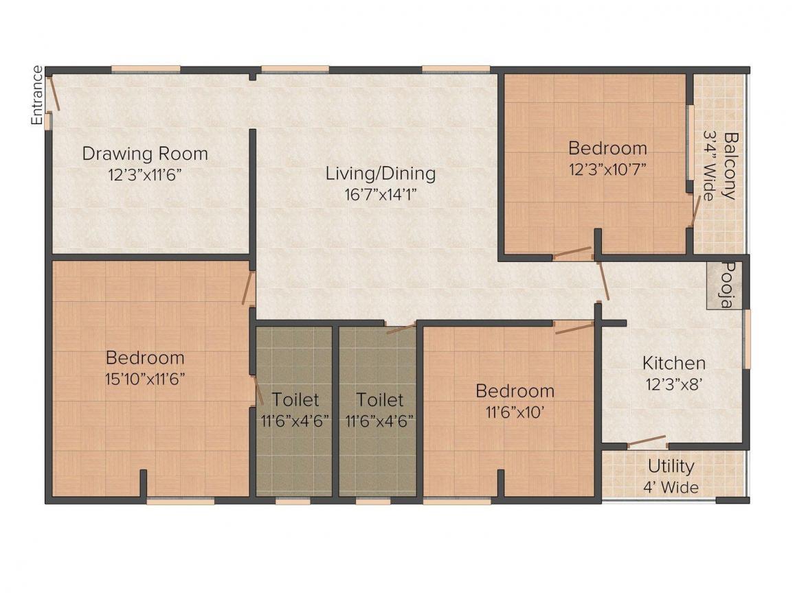 Floor Plan Image of 0 - 1500.0 Sq.ft 3 BHK Independent Floor for buy in Pioneer F- 89