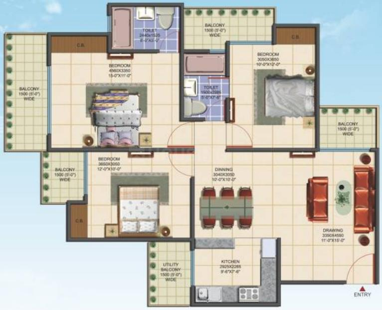 Aims Golf Avenue Phase 3 Floor Plan: 3 BHK Unit with Built up area of 1450 sq.ft 1