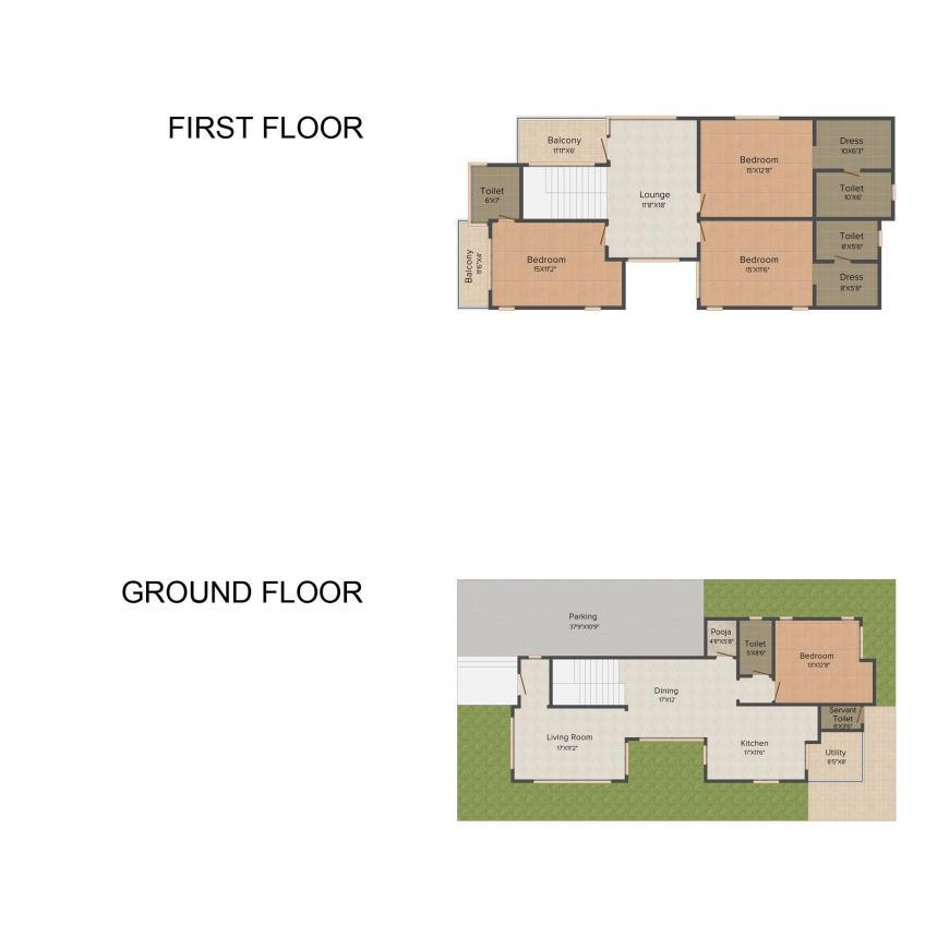 Floor Plan Image of 0 - 3050 Sq.ft 4 BHK Villa for buy in Dev Peacock Enclave