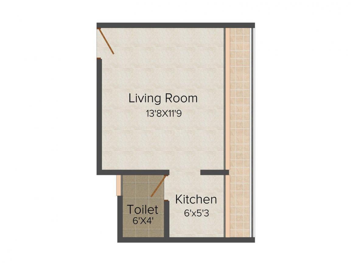 Hemrajani Om Fiona Floor Plan: 1 BHK Unit with Built up area of 390 sq.ft 1